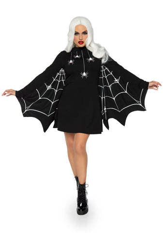 Sku 86885X  Jersey Spider Dress With Scalloped Web Wing Sleeve