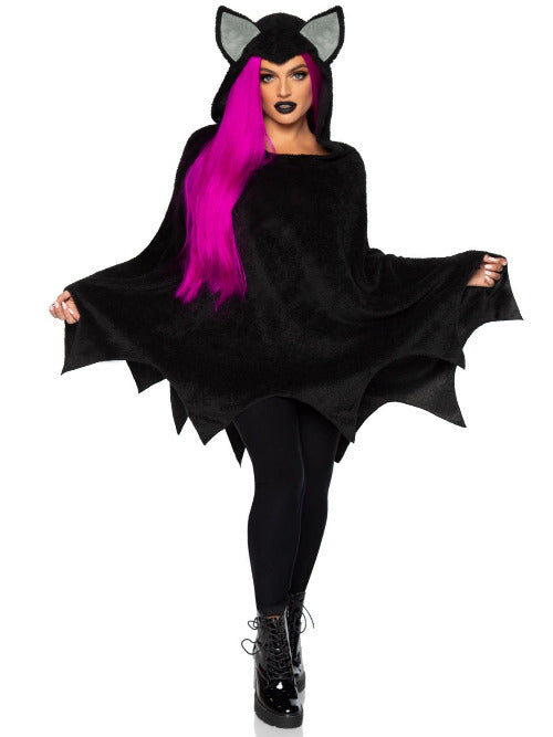 Bat Poncho, features plush scalloped poncho with bat ear hood.