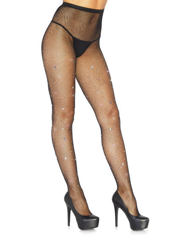 Crystalized Fishnet Tights With Multi Color Gem And Rhinestone Accents - worldclasscostumes