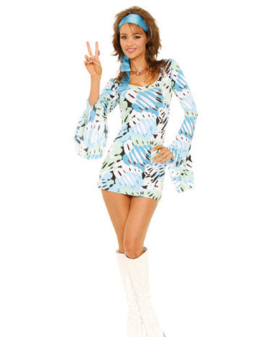 Retro Print 2 PC Set Includes Dress and Scarf - worldclasscostumes