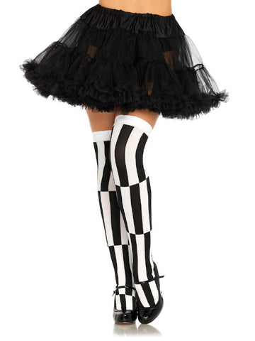 Woven Opaque Striped Optical Illusion Thigh Highs