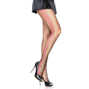Fishnet Pantyhose With Woven Contrast Side Stripes - worldclasscostumes