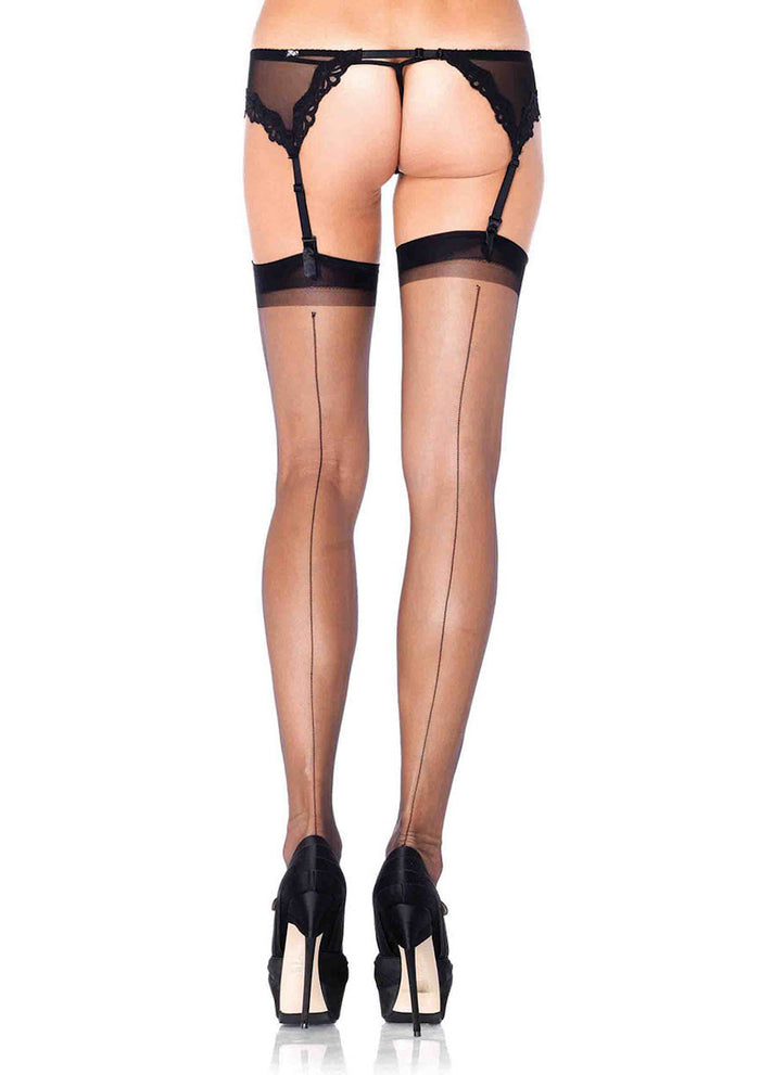 Spandex ultra sheer backseam stockings O/S BLACK