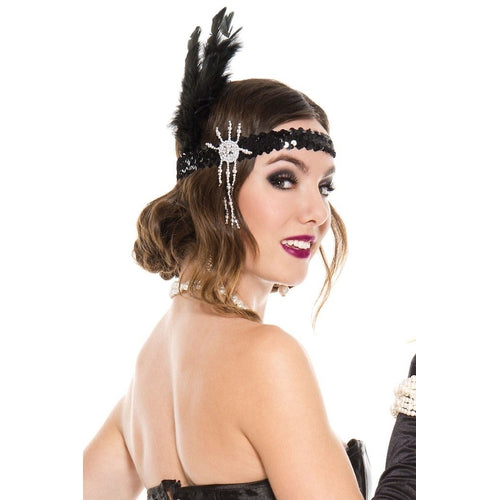 Sequin with feather flapper headdress
