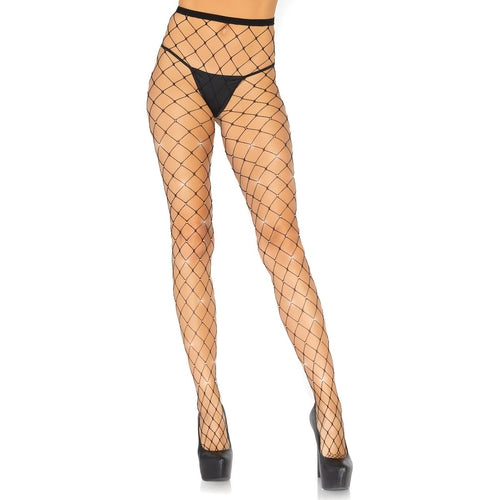 Iridescent Rhinestone Fence Net Tights