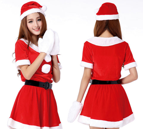 K05 New type Sling Christmas Costume short Santa Clothing with belt for Gift and Party