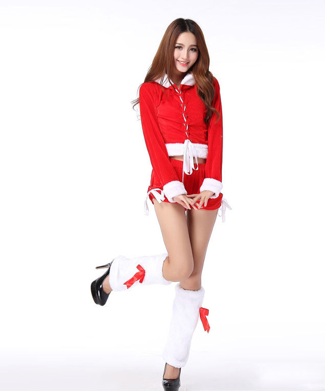 3faacb105939a K26 Women popular Dance Suits Christmas Costumes sexy hooded Santa Claus
