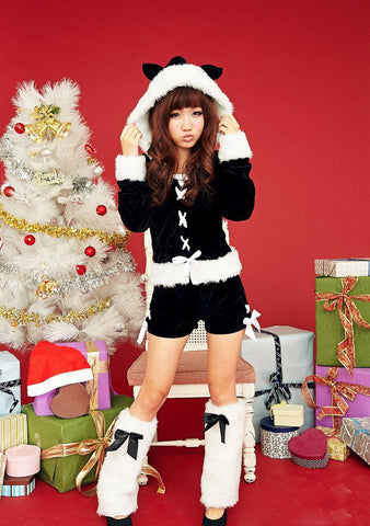 K56 Wholesale Christmas Costumes Perform wearing women short Santa Hooded Suits - online shopping wih