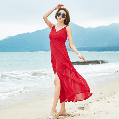 009 Red Long Beach Dresses - online shopping wih