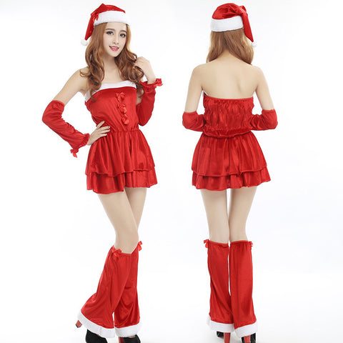 k51 Fashion Christmas Maid Costumes  Cospaly wearing Santa Claus red skirt - online shopping wih