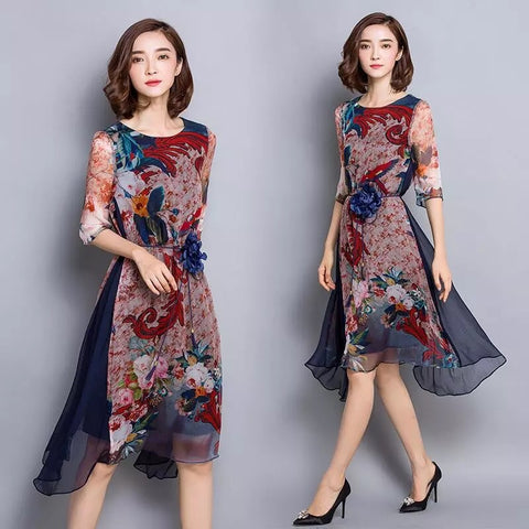 2018 new women chiffon dress flower print - online shopping wih