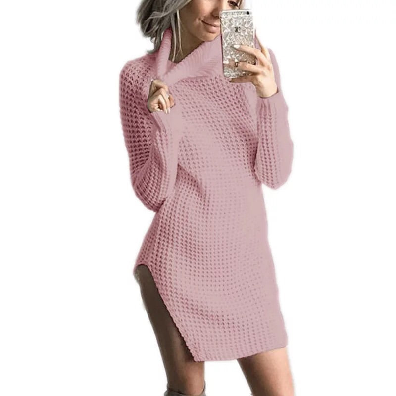 High collar long sleeve knit wool split dress - online shopping wih
