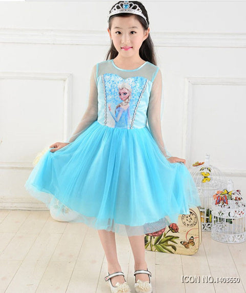 KG07 Fashion Children Dress Kids Party Dress Vestidos Cosplay Baby Elsa Girls Princess Dresses Kids Christmas Anna Kids Party Dresses - online shopping wih