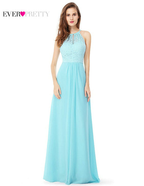 Evening Dress Ever Pretty Aqua EP08982AQ A Line New Arrival Women Halter Sleeveless Long Evening Dress 2017