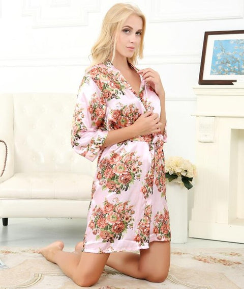 L10 Satin Floral Wedding Robe Sexy Bridal Nightgown Lingerie - online shopping wih