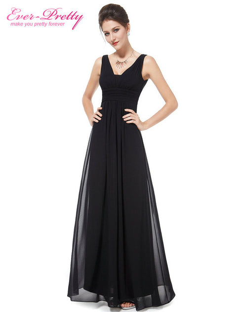 Formal Evening Dresses Ever Pretty EP08110 2017 Elegant Black Deep V-neck Ruched Bust Maxi Woman Evening Dresses