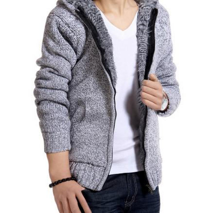MC02 Jacket Men 2017 Thick Velvet Cotton Hooded Fur Jacket Mens Winter Padded Knitted all-match Casual Sweater Cardigan Coat Spring - online shopping wih