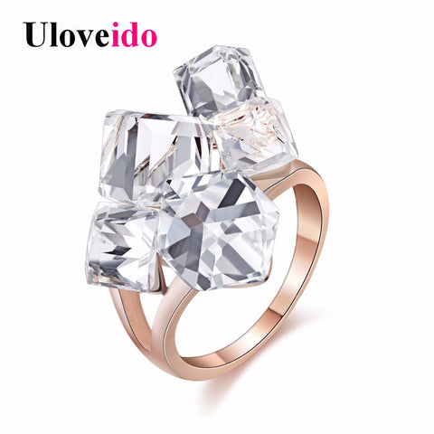 Uloveido Rose Gold Color Rings for Women Women's Ring Female Sale Cubic Zirconia Bijouterie Vintage Anillos Mujer Bague GR123