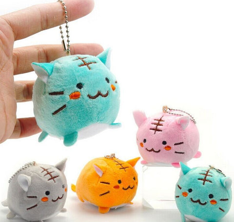 DO01 Kawaii 4Colors Choice - 6CM TIGER CAT Plush Key chain DOLLS toys