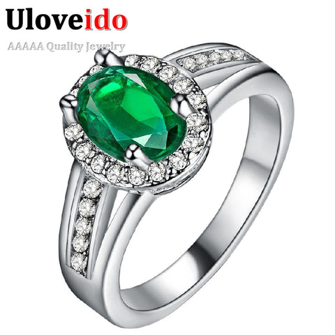 Silver Color Wedding Rings Female Jewelery with Green Stones Women Accessories Jewelry Ring Bague Femme Anel Lovers' Gift PJ138 - online shopping wih
