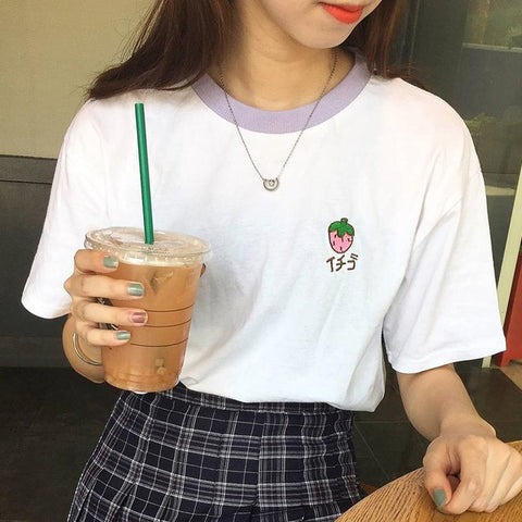 2017 Summer Fruit Embroidered College Wind Patchwork Loose Cotton Short Sleeve Female T-shirts 3053 - online shopping wih