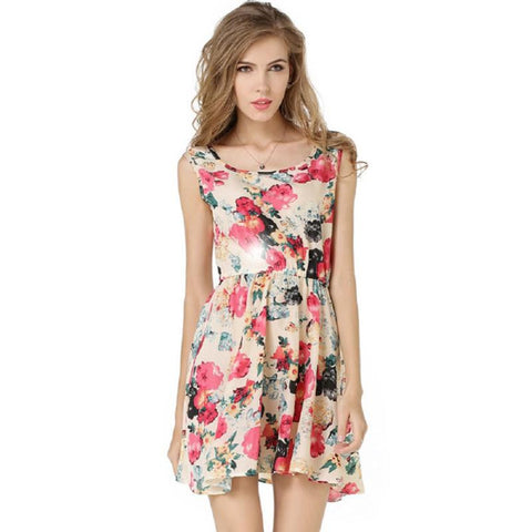 D901 Women Summer Printed Sleeveless Mini Dresses - coolsir sunglasses