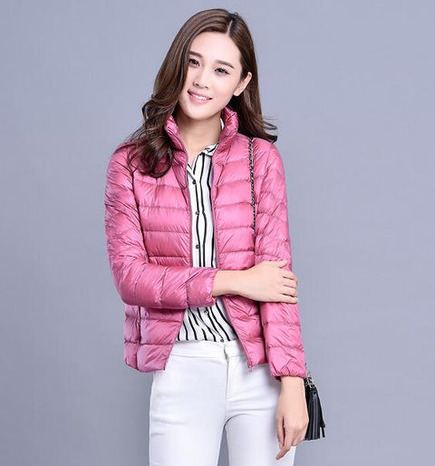 XMY3DWX fashion women keep warm Super light thin 90% White duck down jacket/femininity Stand collar Large size down coat S-XXXL