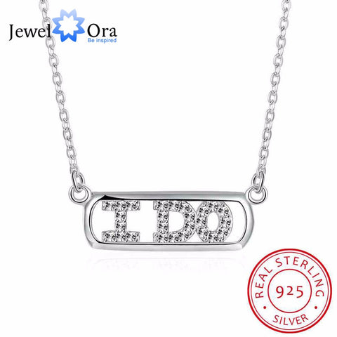 "Solid 925 Sterling Silver Necklace Letter "" I DO "" Design Promise Jewelery Necklaces & Pendants For Women (JewelOra NE101845) - online shopping wih"