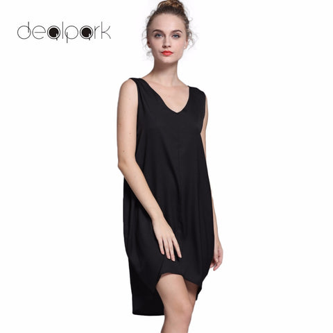 D98 Novelty Fashion Sleeveless Tank Dresses High Low Hem Loose Dress - coolsir sunglasses