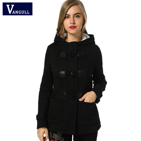 1043 Winter Coat Women 2017 New Fashion Women Wool Blends Slim Hooded Collar Zipper Horn Button Long Coats Outerwear special button - online shopping wih