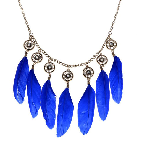 J08  Indian Style Feather Pendant Necklace Jewelery - online shopping wih