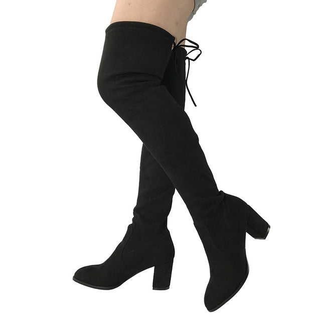 6206 Black Gray Womens Micro Suede Thigh High Boots - online shopping wih