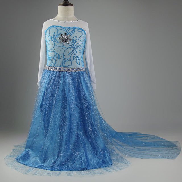 KG01 Girls Dresses Elsa Anna Costume For Kids Christmas Party Prom Dresses For Girls - online shopping wih