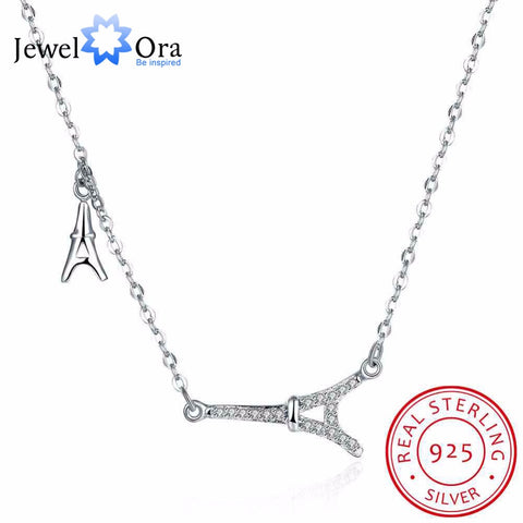 Solid 925 Sterling Silver Necklace Eiffel Tower Accessorise Wedding Jewelery Necklaces & Pendants For Women(JewelOra NE101849) - coolsir sunglasses
