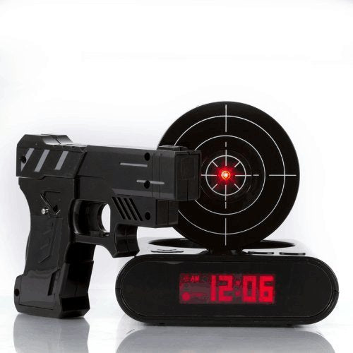 Gadget Target Laser Shooting Gun Alarm Clock Digital electronic desk clock table watch nixie clock Snooze bedside for kids 3134 - online shopping wih