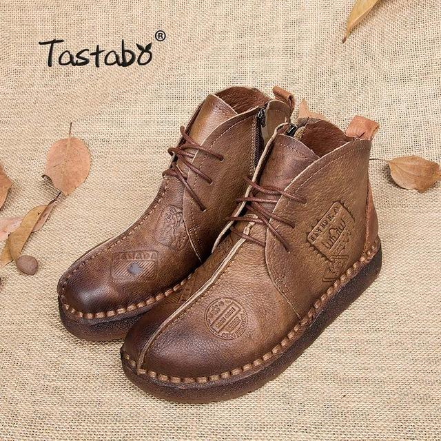 6202HOT SALE Shoes Women Retro Boots Handmade Ankle Boots Flat Boots Real Genuine Leather Shoes Women Shoes Plus Size 42 - online shopping wih