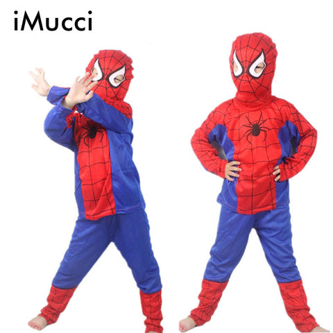 iMucci Spider Man Children Clothing Sets Spiderman Halloween Party Cosplay Costume Kids Long Sleeve Super Hero Batman Suits - online shopping wih