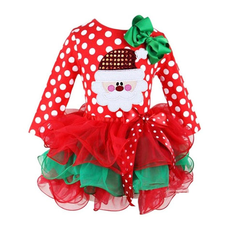 KG05 Red Christmas Girls Dress Snow Man Xmas Winter Dot Dresses Kids Clothes Cotton