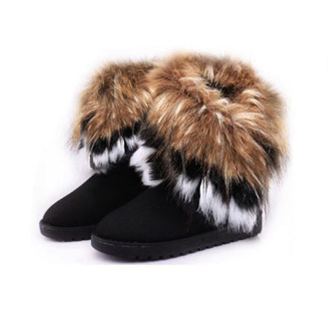 6215 Women Flat Ankle Snow Boots Fur Boots Winter Warm Snow - online shopping wih