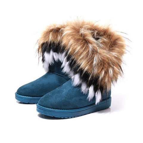 6215 Women Flat Ankle Snow Boots Fur Boots Winter Warm Snow - coolsir sunglasses