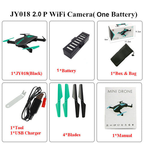 RD01 Foldable Mini Selfie Pocket Rc Camera Drone JY018 with Wifi FPV Camera - online shopping wih