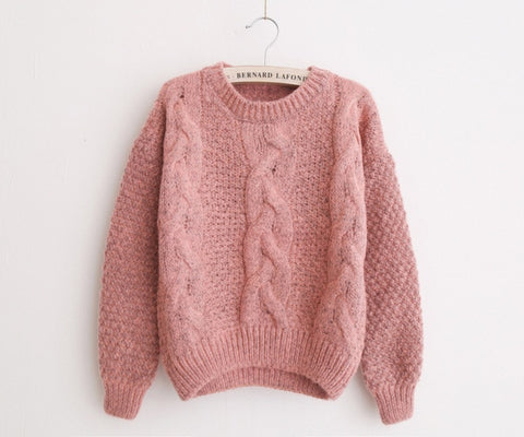 Women Sweater Warm Pullover and Jumpers Crewneck Mohair Pullover 21406