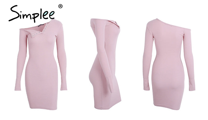 Simplee Autumn one shoulder sexy bodycon dress Women long sleeve elastic white dresses Winter party club black mini dress 2017 - online shopping wih