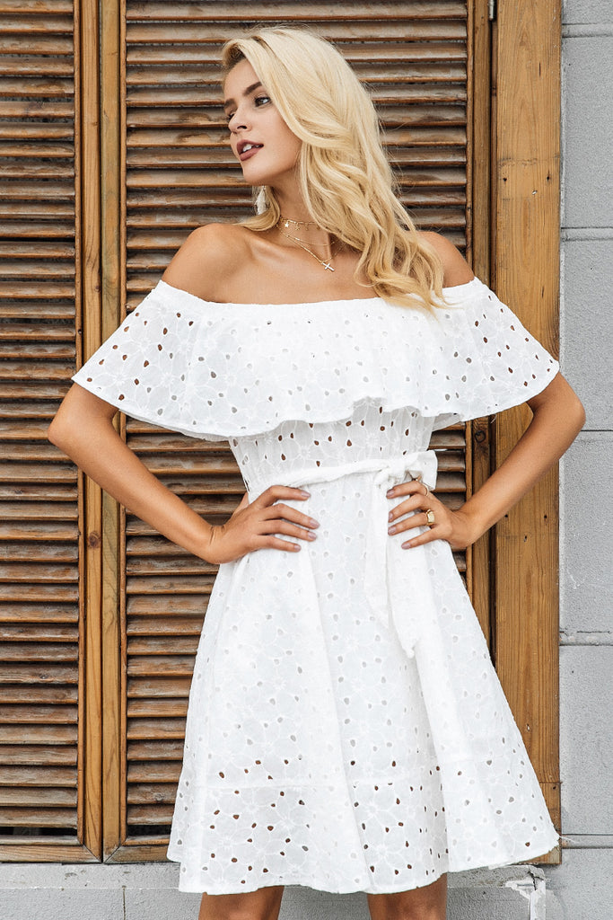 aef3fa86368eb Simplee Sexy off shoulder ruffle hollow out dress Women lace up casual  streetwear short dress Flower party white dress vestidos