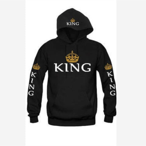 2018 Autumn Winter Couples Sweatshirts King Queen printed funny couple 3 color hoodies 3144 - coolsir sunglasses