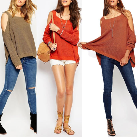 Women Sweaters Winter Spring Off Shoulder Strapless 3231