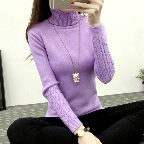 Women Turtleneck Winter Sweater Women Cashmere Knitted Women Sweater 21402
