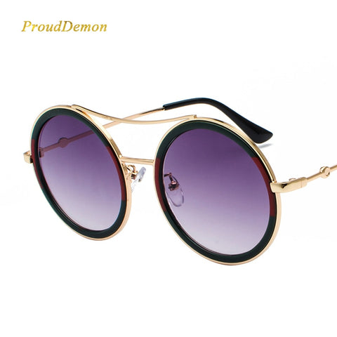 Prouddemon Luxury Brand Round Sunglasses Women Vintage Ladies Big Shades Sun Glasses