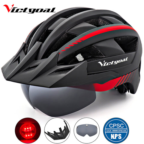Bike Helmet LED Light Adult Men Women Bicycle Helmet With Visor Glasses Goggles