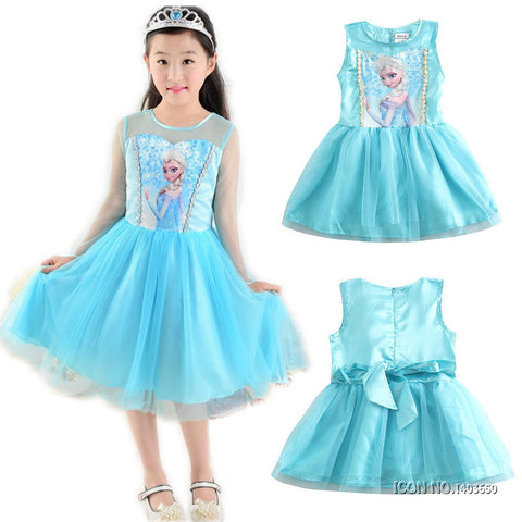 KG07 Fashion Children Dress Kids Party Dress Vestidos Cosplay Baby Elsa Girls Princess Dresses Kids Christmas Anna Kids Party Dresses - coolsir sunglasses